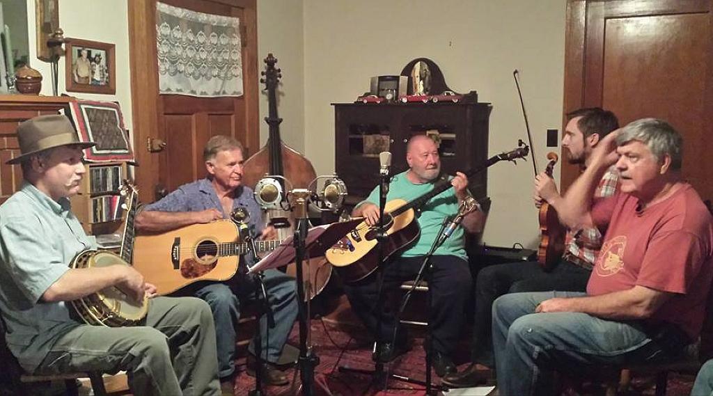 Elkvill String Band in Wayne Henderson's livingroom